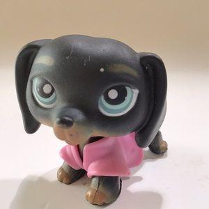 Littlest Pet Shop #325 Dachsund Dog Pink Coat Toy Blue Eyes Dot